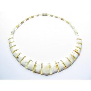 White Baltic Amber Choker Cleopatra