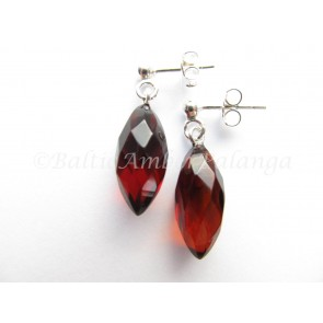 Baltic Amber Faceted Cherry Color Drop Earrings